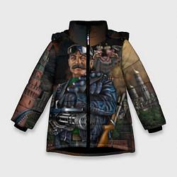 Детская зимняя куртка для девочки с принтом Сталин военный, цвет: 3D-черный, артикул: 10082408306065 — фото 1