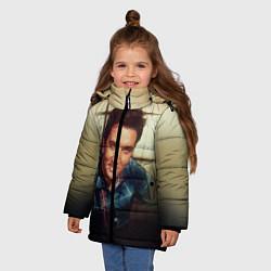 Куртка зимняя для девочки Элвис Пресли цвета 3D-черный — фото 2