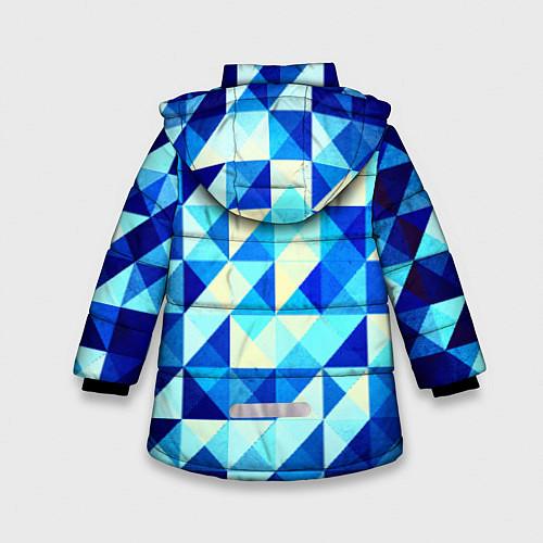 Зимняя куртка для девочки Синяя геометрия / 3D-Черный – фото 2