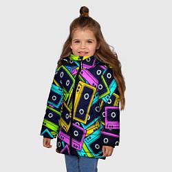 Куртка зимняя для девочки Неоновые кассеты цвета 3D-черный — фото 2