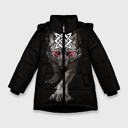 Куртка зимняя для девочки Волк со Сварогом цвета 3D-черный — фото 1