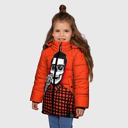 Куртка зимняя для девочки Скелет хипстер цвета 3D-черный — фото 2
