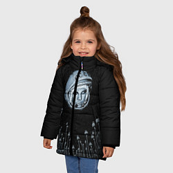 Детская зимняя куртка для девочки с принтом Гагарин в небе, цвет: 3D-черный, артикул: 10091680706065 — фото 2