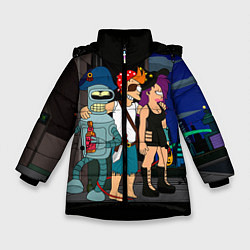 Куртка зимняя для девочки Футурама пати цвета 3D-черный — фото 1