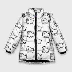 Куртка зимняя для девочки Undertale Annoying dog white цвета 3D-черный — фото 1