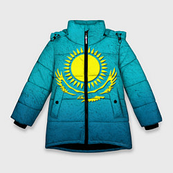 Куртка зимняя для девочки Флаг Казахстана цвета 3D-черный — фото 1