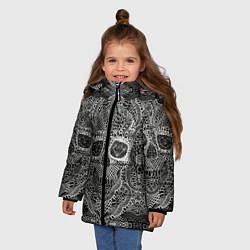 Куртка зимняя для девочки Кружевной череп цвета 3D-черный — фото 2