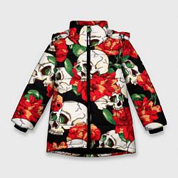 Зимняя куртка для девочки Черепки и розы
