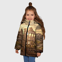 Куртка зимняя для девочки Римское солнце цвета 3D-черный — фото 2