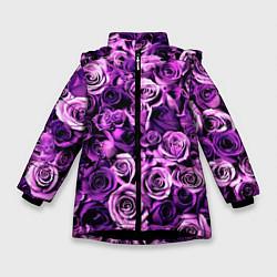 Куртка зимняя для девочки Цветочки цвета 3D-черный — фото 1