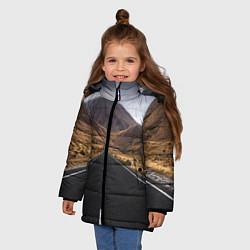 Куртка зимняя для девочки Пейзаж горная трасса цвета 3D-черный — фото 2