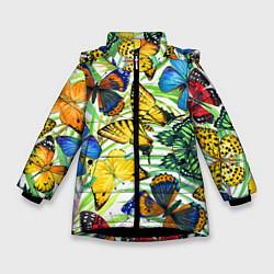 Зимняя куртка для девочки Тропические бабочки