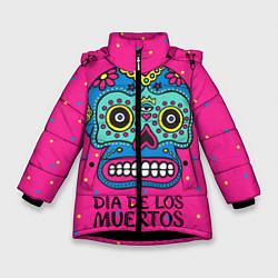 Куртка зимняя для девочки Мексиканский череп цвета 3D-черный — фото 1