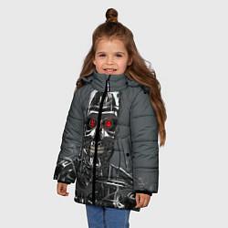 Куртка зимняя для девочки Скелет Терминатора цвета 3D-черный — фото 2