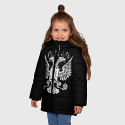Куртка зимняя для девочки Двуглавый орел цвета 3D-черный — фото 2