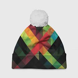 Шапка с помпоном Цветные кубики цвета 3D-белый — фото 1
