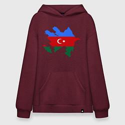 Толстовка-худи оверсайз Azerbaijan map цвета меланж-бордовый — фото 1