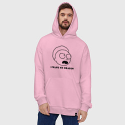 Толстовка-худи оверсайз I Want My Dragon цвета светло-розовый — фото 2