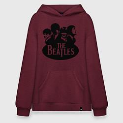 Толстовка-худи оверсайз The Beatles Band цвета меланж-бордовый — фото 1