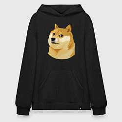Толстовка-худи оверсайз Doge цвета черный — фото 1