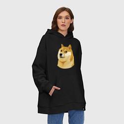 Толстовка-худи оверсайз Doge цвета черный — фото 2
