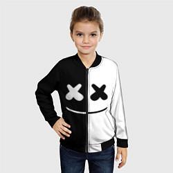Бомбер детский Marshmello: Black & White цвета 3D-черный — фото 2