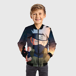 Детский 3D-бомбер на молнии с принтом Какаси, цвет: 3D-черный, артикул: 10068428604522 — фото 2