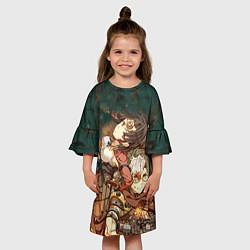Платье клеш для девочки Воин крепости цвета 3D — фото 2