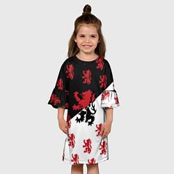 Платье клеш для девочки Лев герба Нидерландов цвета 3D-принт — фото 2