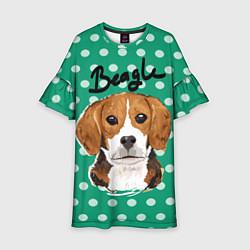 Платье клеш для девочки Beagle Face цвета 3D — фото 1