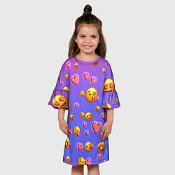 Платье клеш для девочки Очень много эмодзи цвета 3D — фото 2