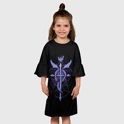 Платье клеш для девочки Стальной алхимик цвета 3D-принт — фото 2