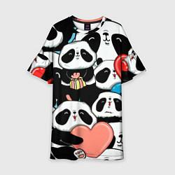 Платье клеш для девочки Панды цвета 3D-принт — фото 1