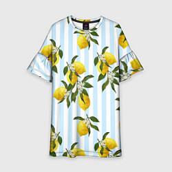 Платье клеш для девочки Лимоны цвета 3D-принт — фото 1