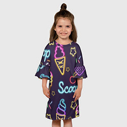 Платье клеш для девочки Мороженное неон цвета 3D-принт — фото 2