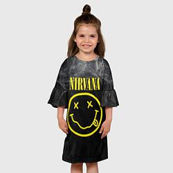 Платье клеш для девочки Nirvana Smoke цвета 3D-принт — фото 2