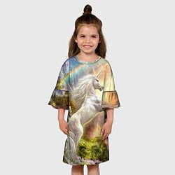 Платье клеш для девочки Радужный единорог цвета 3D — фото 2
