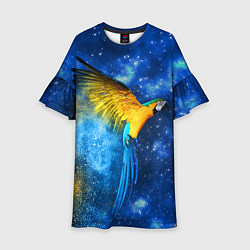 Платье клеш для девочки Космический попугай цвета 3D — фото 1