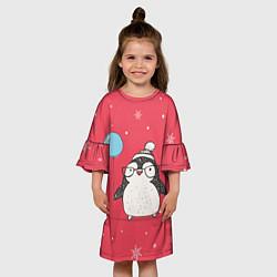 Платье клеш для девочки Влюбленная пингвинка цвета 3D — фото 2
