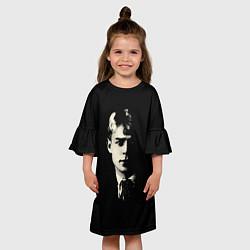 Платье клеш для девочки Есенин Ч/Б цвета 3D-принт — фото 2