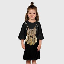 Платье клеш для девочки Золотые перья цвета 3D — фото 2