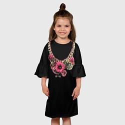Платье клеш для девочки Золото и цветы цвета 3D — фото 2