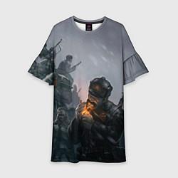 Платье клеш для девочки Солдаты цвета 3D — фото 1