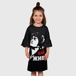 Платье клеш для девочки Цой жив цвета 3D-принт — фото 2