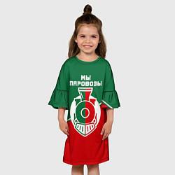 Платье клеш для девочки Мы паровозы цвета 3D-принт — фото 2