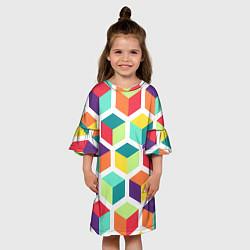 Платье клеш для девочки 3D кубы цвета 3D — фото 2