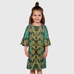 Платье клеш для девочки Крокодил цвета 3D — фото 2