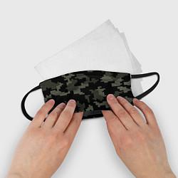 Маска для лица детская Камуфляж пиксельный: черный/серый цвета 3D — фото 2