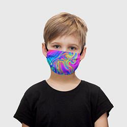 Маска для лица детская Цветные разводы цвета 3D — фото 1