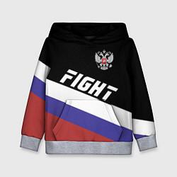 Толстовка-худи детская Fight Russia цвета 3D-меланж — фото 1